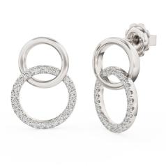Cercei Rotunzi Aur Alb 18kt cu 8 Diamante Rotunde Setate cu Gheare, Dublu Cerc
