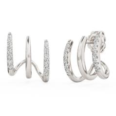 Cercei Rotunzi Aur Alb 18kt cu 8 Diamante Rotunde Setate cu Gheare, Tip Huggie