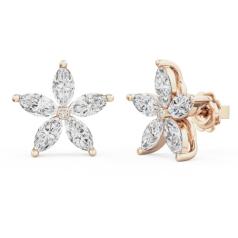 Cercei Stud Aur Roz 18kt cu 5 Diamante Forma Marchiza si un Diamant Rotund Brilliant in Setare Rub Over in Centru