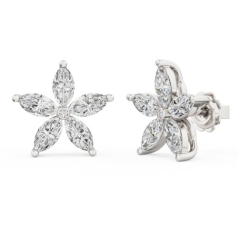 Cercei Stud Aur Alb 18kt cu 5 Diamante Forma Marchiza si un Diamant Rotund Brilliant in Setare Rub Over in Centru