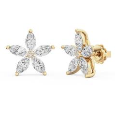 Cercei Stud Aur Galben 18kt cu 5 Diamante Forma Marchiza si un Diamant Rotund Brilliant in Setare Rub Over in Centru