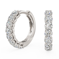 Cercei Creole Aur Alb 18kt cu 8 Diamante Rotunde Briliant in Setare Clasica cu Gheare
