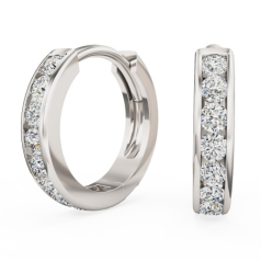 Cercei Rotunzi Aur Alb 18kt cu 9 Diamante Rotunde Briliant in Setare Canal, Tip Huggie