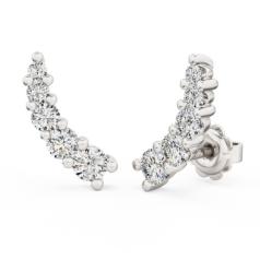 Cercei Stud Aur Alb 18kt cu 5 Diamante Rotunde Brilliant in Setare Gheare, Set Climber