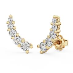 Cercei Stud Aur Galben 18kt cu 5 Diamante Rotunde Brilliant in Setare Gheare, Set Climber