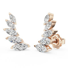 Cercei Stud Aur Roz 18kt cu 5 Diamante Forma Marchiza Setare în Gheare, Set Climber
