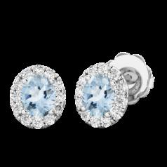 RDEAQ037W-Cercei Aur Alb 18kt Tip Halo cu Acvamarin si Diamante Rotunde,un Acvamarin Oval si Inconjurat de un Halo de 12 diamante