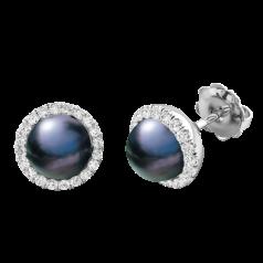 Cercei Stud Aur Alb 18kt cu Perle Negre si Diamante Rotunde Briliant