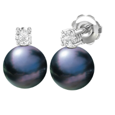 Cercei Aur Alb 18kt cu Perle Negre de 8mm si Briliante Rotunde Sclipitoare