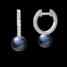 Cercei Creole cu Perle si Diamante din Aur Alb 18kt cu Perle Negre