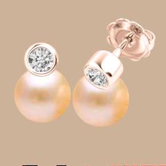Cercei Aur Roz 18kt cu Perle Piersic Deschis si Diamante Rotunde