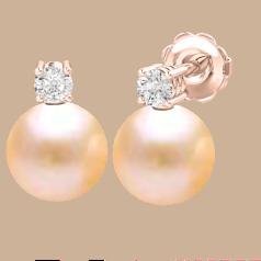 Cercei Aur Roz 18kt cu Perle Piersic Deschis de 8mm si Briliante Rotunde Sclipitoare