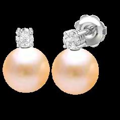 Cercei Aur Alb 18kt cu Perle Piersic Deschis de 8mm si Briliante Rotunde Sclipitoare
