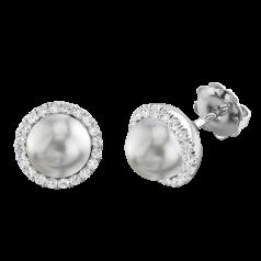 Cercei Stud Aur Alb 18kt cu Perle Argintiu Inchis si Diamante Rotunde Briliant