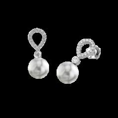 Cercei Eleganti din Aur Alb 18kt cu Perle Argintiu Inchis si Diamante Rotunde Briliant