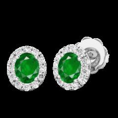 Cercei Aur Alb 18kt Tip Halo cu Smarald si Diamante Rotunde,un Smarald Oval si Inconjurat de un Halo de 12 diamante