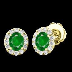 Cercei Aur Galben 18kt Tip Halo cu Smarald si Diamante Rotunde,un Smarald Oval si Inconjurat de un Halo de 12 diamante