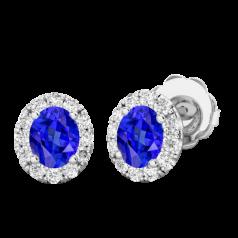 RDET037W-Cercei Aur Alb 18kt Tip Halo cu Tanzanite si Diamante Rotunde,un Tanzanite Oval si Inconjurat de un Halo de 12 diamante