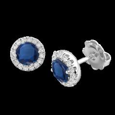 Cercei Aur Alb 18kt Tip Halo cu Tanzanite si Diamante Rotunde un Tanzanite Rotund si Inconjurat de un Halo de 14 diamante