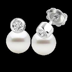Cercei Aur Alb 18kt cu Perle Albe si Diamante Rotunde
