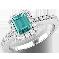 RDGT580W-Inel cu Turmalină Verde si Diamant Dama Aur Alb 18kt cu o Turmalină Verde Taietura Smarald si Diamante Rotund Briliant Toate in Setare Gheare