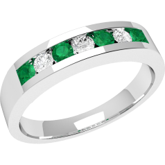 Emerald and Diamond Eternity Ring for Women in 9ct white gold with 4 round emeralds and 3 round brilliant diamonds, all in a channel setting