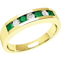 RDM036/9Y - 9ct yellow gold 7 stone emerald and diamond eternity ring