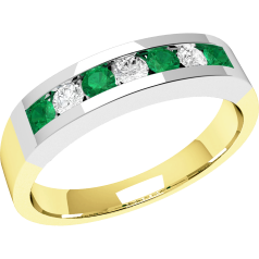 Emerald and Diamond Eternity Ring for Women in 9ct yellow and white gold with 4 round emeralds and 3 round brilliant diamonds, all in a channel setting