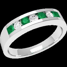 RDM036W - 18kt Weissgold 7 Steine Smaragd und Diamant Ring