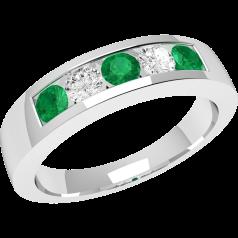 RDM047W - 18kt Weissgold 5 Steine Ring mit Smaragden und Diamanten in Kanalfassung