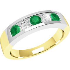 RDM047YW - 18ct yellow and white gold channel set emerald and diamond 5 stone ring