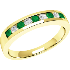 Emerald and Diamond Eternity Ring for Women in 9ct yellow gold with 5 round emeralds and 4 round brilliant cut diamonds