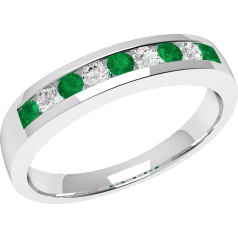 Emerald and Diamond Eternity Ring for Women in 18ct white gold with 5 round emeralds and 4 round brilliant cut diamonds