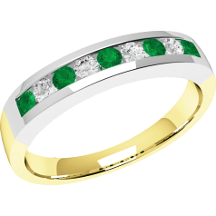 RDM053YW - 18ct yellow and white gold emerald and diamond 9 stone eternity ring in a channel setting