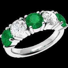 Inel cu Smarald si Diamant Dama Aur Alb 18kt cu 3 Smaralde Rotunde si 2 Diamante Rotund Briliant in Setare Gheare