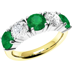 RDM110YW - 18ct yellow and white gold emerald and diamond claw set 5 stone eternity ring