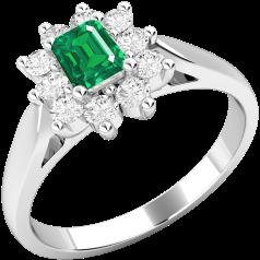 RDM114W - 18kt Weissgold Cluster Ring mit einem Smaragd-Schliff Smaragd in der Mitte, umgeben von runden Brillanten, alle in Krappenfassung