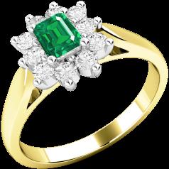 Inel cu Smarald si Diamant Dama Aur Galben si Aur Alb 18kt cu un Smarald Forma Smarald si Diamante Rotund Briliant in Jur in Setare Gheare