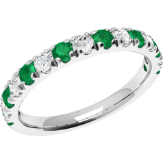 Emerald and Diamond Eternity Ring for Women in 18ct white gold with 8 emeralds and 7 diamonds in claw setting