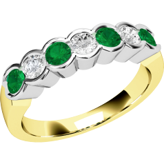 RDM184YW - 18ct yellow and white gold 7 stone emerald and diamond eternity ring