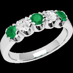 Smaragd und Diamant Ring für Dame in 9kt Weißgold mit 5 Steinen, Eternity Ring