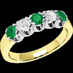 Smaragd und Diamant Ring für Dame in 9kt Gelbgold und Weißgold mit 5 Steinen, Eternity Ring