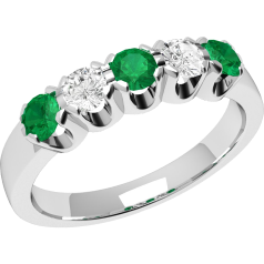 Emerald and Diamond Eternity Ring for Women in 18ct white gold with 2 diamonds and 3 emeralds