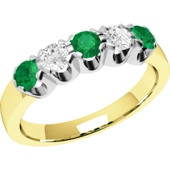 Emerald and Diamond Eternity Ring for Women in 18ct yellow and white gold with 2 diamonds and 3 emeralds
