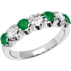 Emerald and Diamond Eternity Ring for Women in 9ct white gold with 3 round diamonds and 4 round emeralds