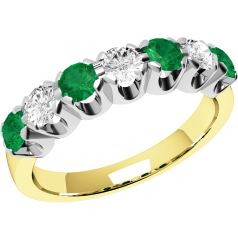 Emerald and Diamond Eternity Ring for Women in 9ct yellow and white gold with 3 round diamonds and 4 round emeralds