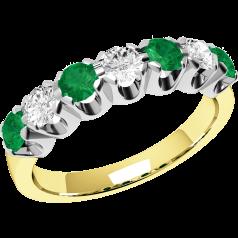 Smaragd und Diamant Ring für Dame in 9kt Gelbgold und Weißgold mit 7 Steinen, Eternity Ring