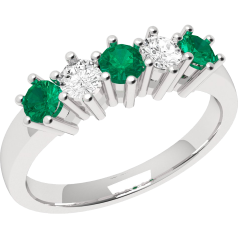 Emerald and Diamond Eternity Ring for Women in 9ct white gold with 3 round emeralds and 2 round brilliant cut diamonds