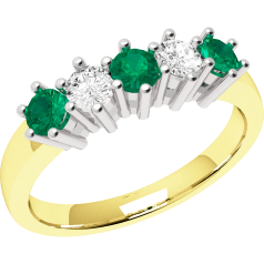 Emerald and Diamond Eternity Ring for Women in 9ct yellow and white gold with 3 round emeralds and 2 round brilliant cut diamonds