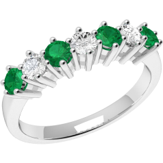 Emerald and Diamond Eternity Ring for Women in 9ct white gold with 7 stones, 4 emeralds and 3 diamonds